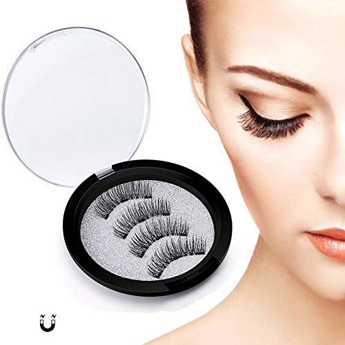 JZTRADING Makeup Wimpern Falsch Damen Künstlicher 24P-3-Magnet Wiederverwendbare natürliche falsche Wimpern 3D Nerzwimpern