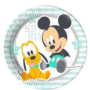 Procos 85587-Platos Papel Baby Mickey & Donald, 8piezas, azul/blanco