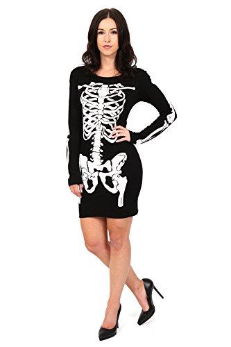 Get The Trend - Robe - Mini-robe - Manches Longues - Femme Noir Noir SKELETON BONES