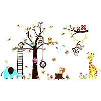 Arcobaleno Fox gufo e la scimmia scoiattolo giraffa giocano su colorato albero Adesivo Wall Sticker - Giraffe Scimmia