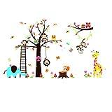 Rainbow Fox Dschungel-Zoo-Tier Giraffe, Elefant, L?we, Zebra und Affe, die Party auf Baum Affe Wandtattoo Owl Zoo Wandtattoo (RF1213)