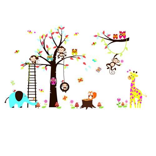 rainbow-fox-buho-y-el-mono-ardilla-jirafa-que-juega-en-tatuajes-de-pared-colorido-del-arbol-etiqueta