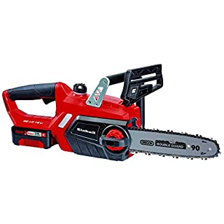 Einhell GE-LC 18 Li Kit Power X-Change 18 V Cordless Lithium-Ion Chain Saw with Battery and Charger (230 mm Cut Length, Oregon Chain and High Quality Blade) - Red