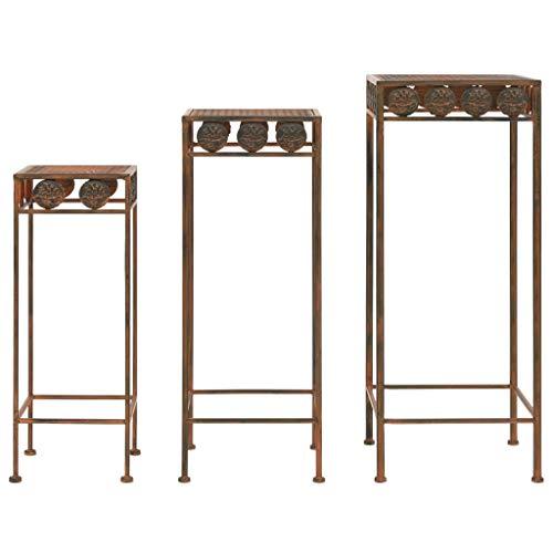 vidaxl 3x piedistalli per piante vintage metallo effetto ruggine basi appoggio
