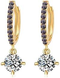 5fd6b17d8427 Wonvin Collection - Pendientes de oro para mujer con cristales austriacos
