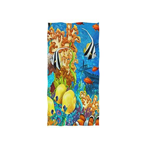 WowPrint Bunt Fisch Ozean Unterwasserwelt Motiv Handtuch Strandhandtuch, Leicht, Weich Microfaser Badetücher, Dekoration Hand Handtücher für Küche Zuhause Bad Spa Fitnessstudio Hotel (76 x 38 cm) (Bad Handtücher Ozean)