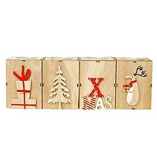 Anjuley – Juego de 4 portavelas de Navidad de Madera, Caja de té, Luces de centros de Mesa para la decoración de Boda de Navidad