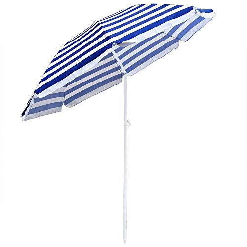 Greenbay Strand Sonnenschirm mit Neigefunktion in blau-weiß 180cm