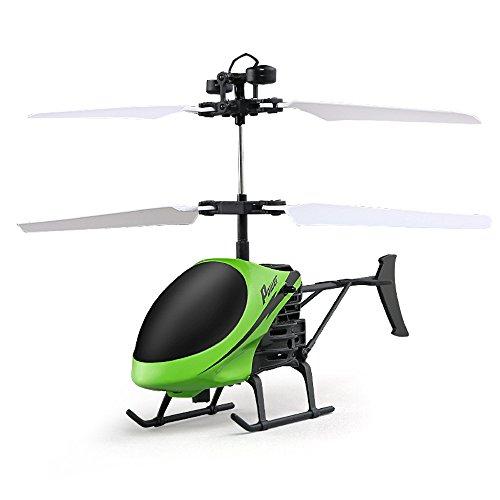 Topgrowth flying mini rc ad infrarossi elicottero a induzione lampeggiante giocattoli luce per bambini, ricarica usb,verde