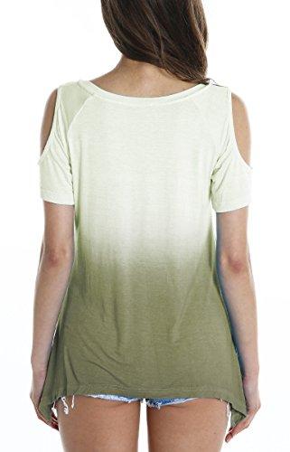 Urbancoco Damen Schulterfrei Gradient Farbe Tunika Top Ombre Shirt Army Green