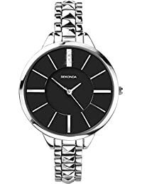 Sekonda Women's Quartz Watch with Black Dial Analogue Display and Silver Alloy Bracelet 2035.27