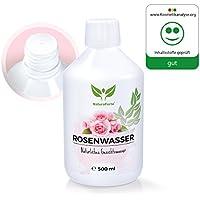 Agua de Rosas 100% Natural y Sin Alcohol para el Rostro y Cuerpo (500ml) - Tónico Puro Destilado de Pétalos de Rosa Damascena | Tónico Hidratante Anti-Arrugas / Anti-Envejecimiento