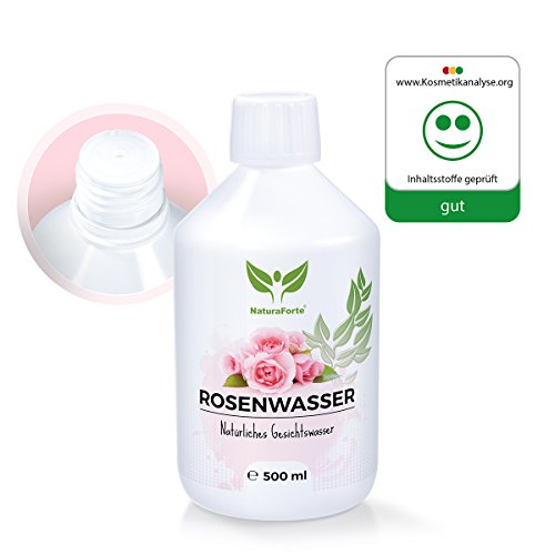 NaturaForte Original Rosenwasser 500ml, Naturkosmetik für reine Haut, Gesichtswasser für Frauen und Männer, 100% Natürlich und Vegan, Rosen-Hydrolat ohne Alkohol, Abgefüllt in Deutschland