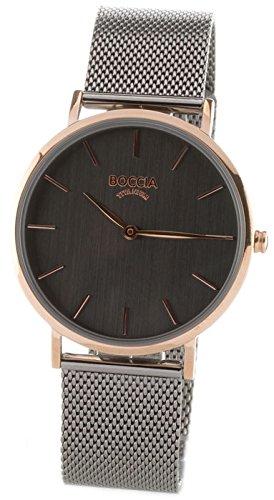 Boccia Damen Analog Quarz Uhr mit Edelstahl Armband 3273-08