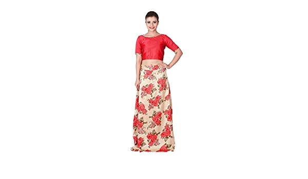 3f223bcdf29 Outdazzle Designer Raw Silk Crop Top with A-Line Printed Skirt - Red:  Amazon.in: Clothing & Accessories
