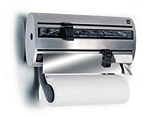 edelstahl k chenrollenhalter f r frischhaltefolie aluminiumfolie und k chenrollen 12177 amazon. Black Bedroom Furniture Sets. Home Design Ideas