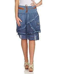 8155dad33c7 ZARMEXX mi-longues femmes jupe en coton jupe en couches regard avec  ceinture jupe courte en dentelle à lacets…