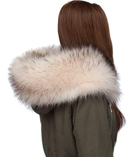 Chic vibe - sciarpa in pelliccia sintetica, con cappuccio e volpe creme mit schwarzen spitzen 75 cm