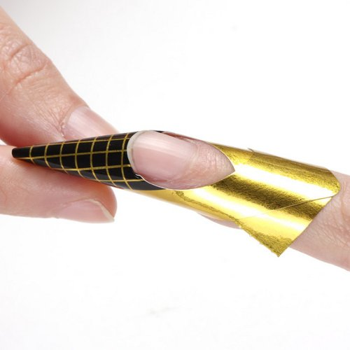 yesurprise-100-x-golden-nail-art-tips-extension-forms-guide-french-diy-tool-acrylic-uv-gel