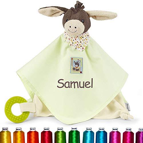 LALALO Sterntaler Kuscheltuch / Schmusetuch Bestickt mit Namen und Geburtsdatum für Baby & Kinder personalisiert (Esel Emmi)