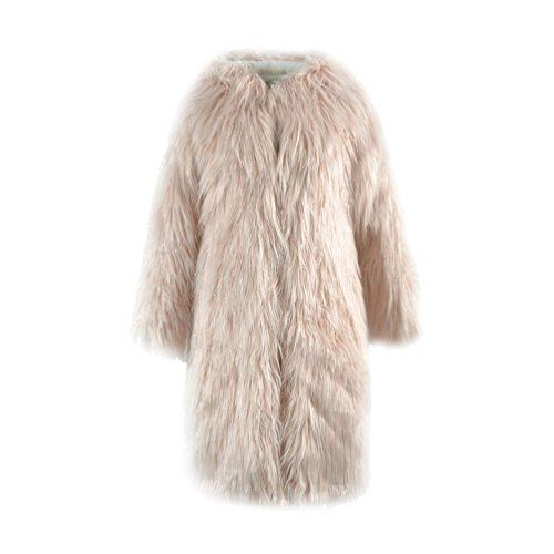 Yuandian donna autunno e inverno casuale lungo cappotto in pelliccia sintetica con cappuccio ecologica finta pellicce caldo giaccone giubbotto beige rosa s