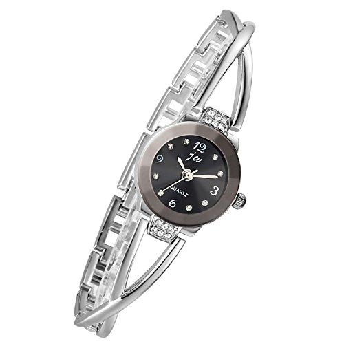 Lancardo Damen Armbanduhr, Manschette Damenuhr mit Strass, Spangenuhr Armkette Uhr Armreif Analog Quarzuhr, silber