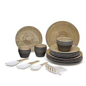Valerio - Bristlepine - Premium Melamine 39 Pcs Dinner Set - Dual Color - Without Serving Bowls