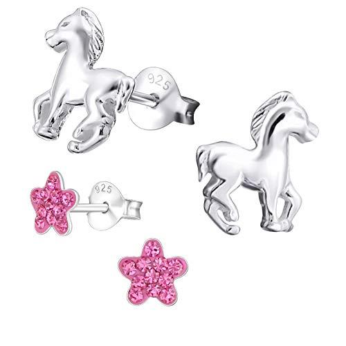 2 Paar Laimons Mädchen Kinder-Ohrstecker Ohrringe Kinderschmuck Blume Blüte pink und Pferd Ponny Fohlen glanz Sterling Silber 925