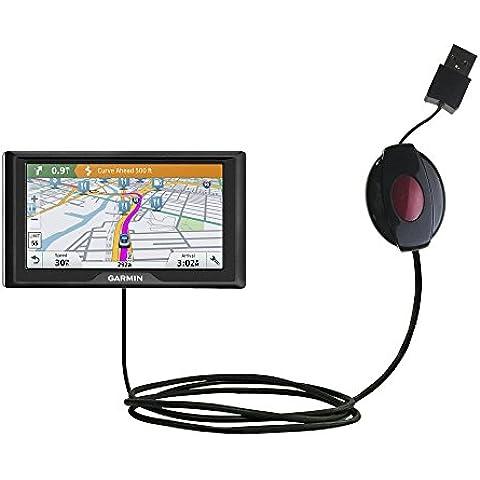 Cavo USB Retrattile a Doppia Funzione Caricamento con Garmin Drive 60LMT / 60LM con il Sistema TipExchange Aggiornabile