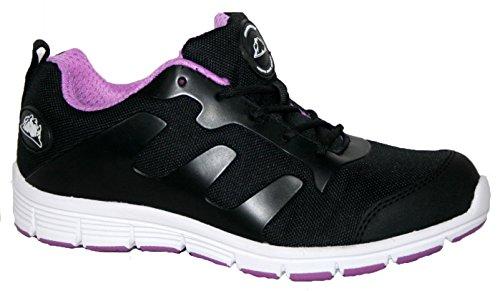 Ladies bases puntera de acero seguridad trabajo entrenador zapatos de encaje ultra ligera, color Rosa, talla 38