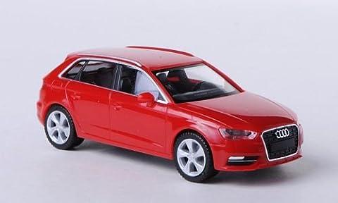 Audi A3 Sportback, rot , Modellauto, Fertigmodell, Herpa 1:87