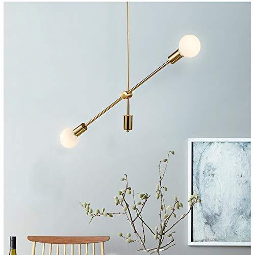 CZZ Moderne, halbbündige Deckenleuchte, 2/4/6 Lichter kreative Kunst LED Galvanik Gold geometrische Linien Schmiedeeisen Kronleuchter (größe : 2 Köpfe) -