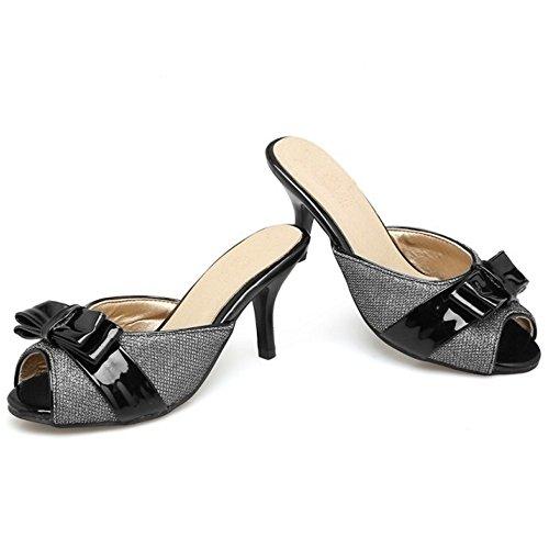 TAOFFEN Femmes Mode Peep Toe Sandales Aiguille Talons Hauts A Enfiler Chaussures De Bowknot Noir