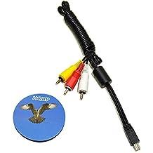 HQRP Cable de audio y video Mini USB a 3 RCA para Canon PowerShot ELPH 100 HS / 110 HS / 135 / 140 IS / 150 IS / 160 / 170 IS / 340 HS / 350 HS + HQRP Posavasos