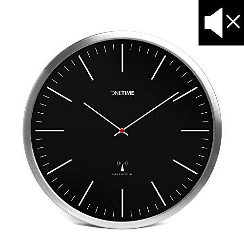 ONETIME Schwarze Funkwanduhr aus Aluminium mit lautlosem Sweep Uhrwerk - Striche - 12 Zoll (Ø) 30,5 cm