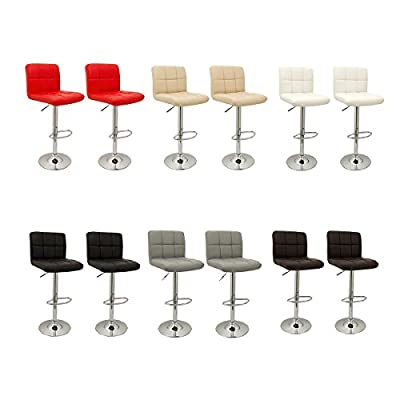 Bar Stools Bros Pair of Cube Bar Stools Faux Leather Top Quality Adjustable, 360-degree swivel, Chrome Footrest And Ideal for Kitchen, Bars, Restaurants, Surgeries, Reception Areas (2 Pcs) - inexpensive UK light shop.