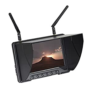 Flysight Black Pearl RC801 5.8GHz 40CH 7-inch LCD Diversity Receiver 1024 x 600 HD Monitor with Integrated Battery (Antenna with Inner Pin)