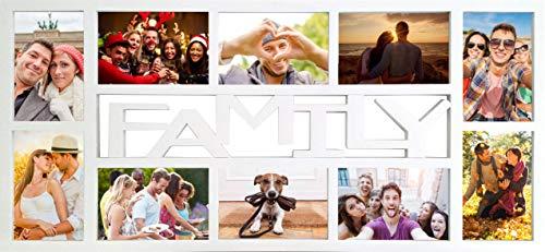 Rahmen Family Multishot Qualitäts-Wechselrahmen der Marke empire® Frames für 10 fotos der Grösse 10x15 Profil 15mm Kunststoff weiss 8 Glas-Scheiben (Große Foto-frame)