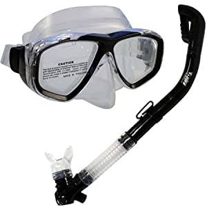 Scuba Diving Snorkeling Dive Mask and Sahara Total Dry Snorkel Set, CBK