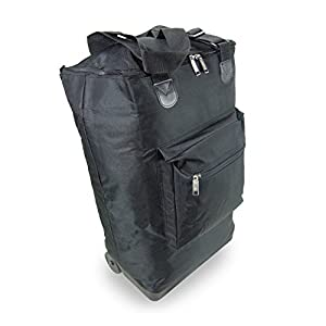 Wheeled Hand Luggage Cabin Bag Folding Flight Bag on Wheels, 35 Litres, 54x38x19, Black ST101.A-BK