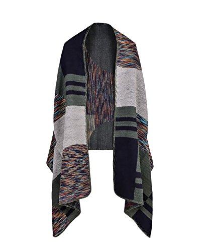 Poncho Cape Donna Knitted Mantelle Elegante Senza Maniche Vintage Moda Mantellina Colori Misti Autunno Inverno Calda Reversibile Sciarpe Cachemire Poncho Scialle Cardigan Top Taglie Forti Verde