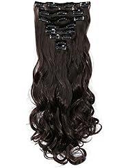 S-noilite - Full Clip tete dans les extensions de cheveux boucles Wavy frisé 8 Pcs 43cm-170g marron foncé