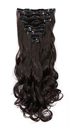 """S-noilite® 17 """"Full-Kopf-Klipp in den Haar-Verlangerungen Ombre Gewellt Gelockt Haarverlängerungen Dip Dye 8Pcs Lang Haare Dunkelbraun"""