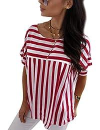 Eur es 200 100 Rojas Camiseta Ropa Rayas Amazon YxqwTgT