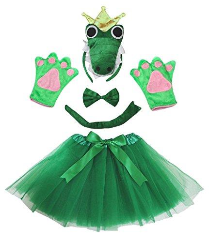 Petitebelle Crocodile König Stirnband Bowtie Glove Rock-Dame 5pc Kostüm Einheitsgröße Grün (Crocodile Rock Kostüm)