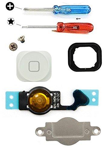 MMOBIEL® Home Button für iPhone 5 (Weiss) Homebutton mit flexkabel Taste inkl. Metal Bracket Gummi Halterung und 2 x Schraubenzieher