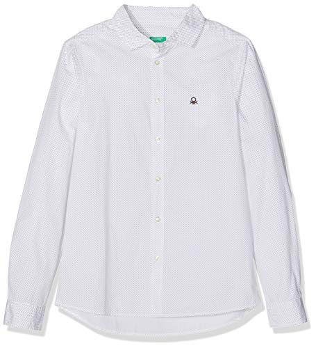United Colors of Benetton Jungen Hemd Shirt, Weiß (WHITE - ALL-OVER), 140 (Herstellergröße: L)