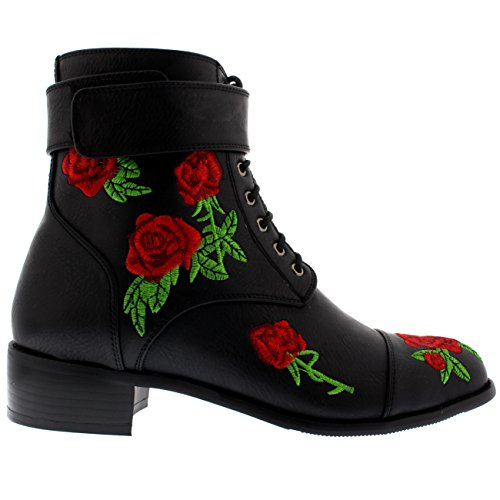 Donna Moda Fiori Ricamato Combattere Esercito Punk Chic Caviglia Stivali Nero