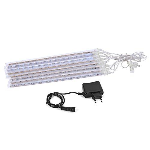 Yosoo 8pcs Set Lumière en Forme Tube 30cm 144 LED Lumières Menées de Météore Éclairage Décoratif Lumières de Guirlande Pluie Extérieures Chute Menée Éclairage de Patio (White)