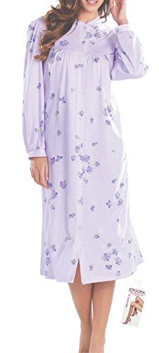 Cybele Damen Nachthemd mit Knöpfe Länge 115 cm Gr. 54 Sleepshirt Nachtwäsche + 1 Paar Feinkniestrümpfe (Baumwolle Sleep-pants Muster)